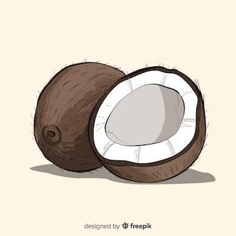Hand getrokken kokosnoot achtergrond
