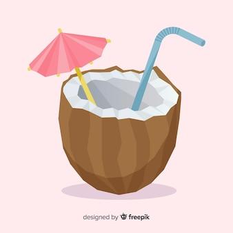 Hand getrokken kokosnoot cocktail achtergrond