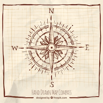 Hand getrokken kompas met frame