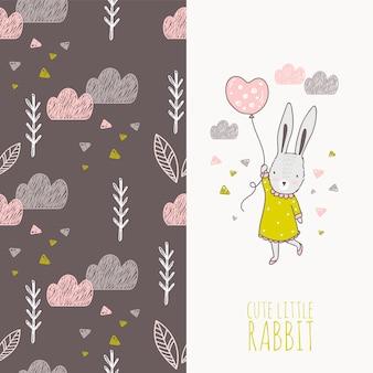 Hand getrokken konijn meisje met ballon kaart