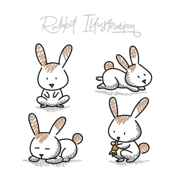 Hand getrokken konijn vectorillustraties