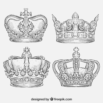 Hand getrokken koninklijke kronen