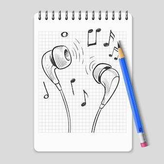 Hand getrokken koptelefoons en muziek notities op realistische laptoppagina