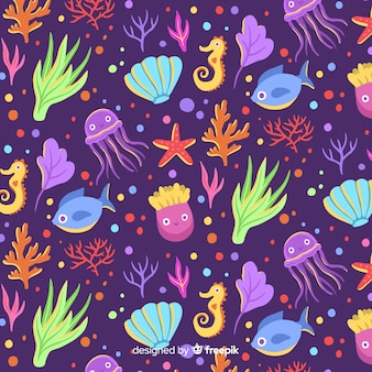 Hand getrokken koraalpatroon