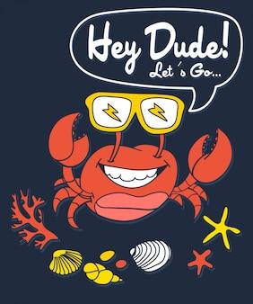 Hand getrokken krab vectorontwerp voor t-shirtdruk