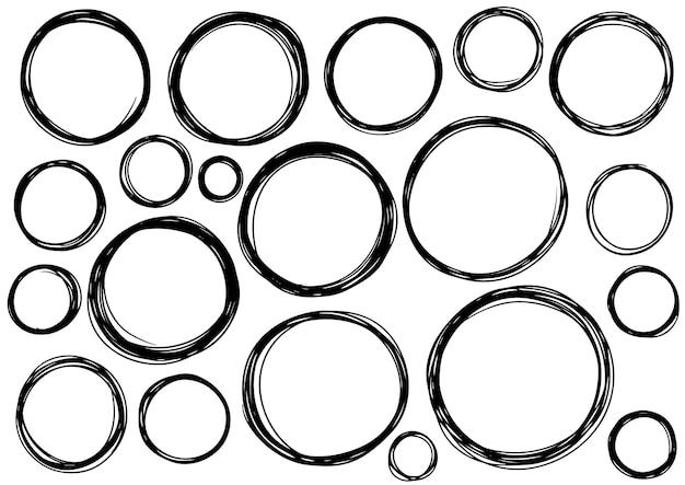 Hand getrokken krabbel cirkel lijnen. doodle circulaire logo ontwerp schets geïsoleerde elementen.