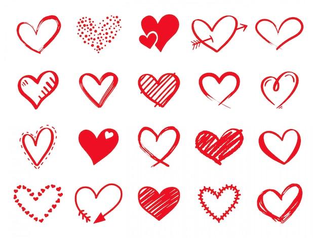 Hand getrokken krabbelharten. geschilderde hartvormige elementen voor valentijnsdag wenskaart. doodle rode liefde harten pictogrammen instellen. collectie op romantische symbolen op witte achtergrond