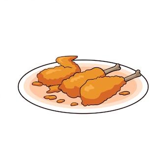 Hand getrokken krokant gebakken kip