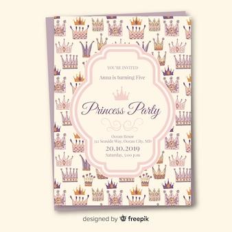 Hand getrokken kronen prinses partij uitnodigingssjabloon