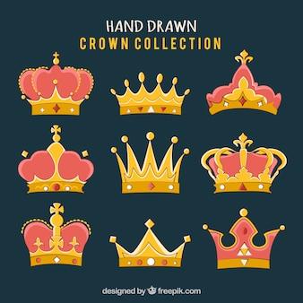Hand getrokken kroon collectie
