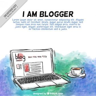 Hand getrokken laptop blog achtergrond