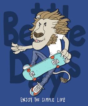 Hand getrokken leeuw vectorontwerp voor t-shirtdruk