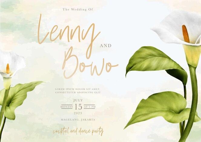 Hand getrokken lelie bloemen bruiloft uitnodigingskaart