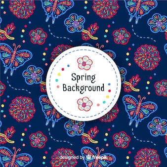 Hand getrokken lente achtergrond