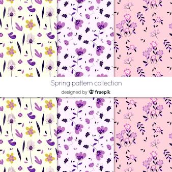 Hand getrokken lente bloemen patronen