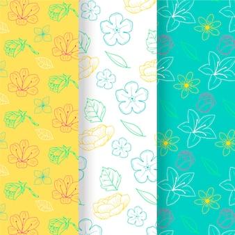 Hand getrokken lente bloemenpatroon set