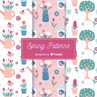 Hand getrokken lente elementen patroon ingesteld