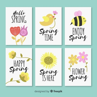 Hand getrokken lente kaart collectie