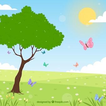 Hand getrokken lente landschap