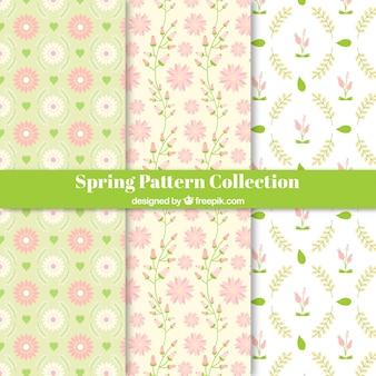 Hand getrokken lente patrooninzameling