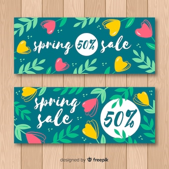 Hand getrokken lente verkoop banner