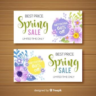 Hand getrokken lente verkoop banners