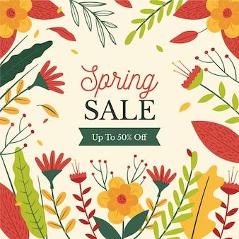 Hand getrokken lente verkoop promo