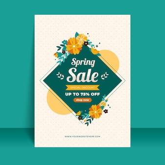 Hand getrokken lente verkoop sjabloon folder