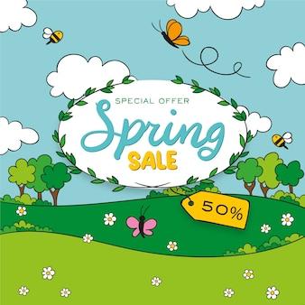 Hand getrokken lente verkoop