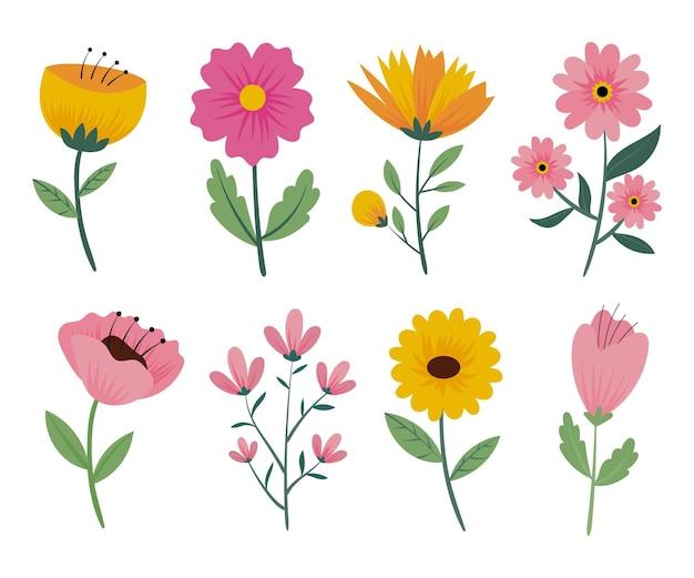 Hand getrokken lentebloemen set