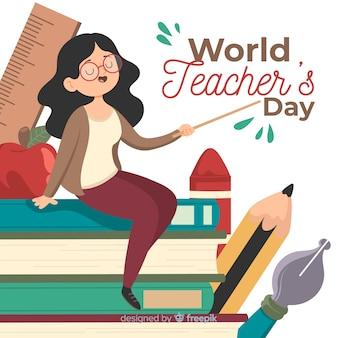Hand getrokken leraren dag achtergrond