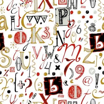 Hand getrokken lettertype naadloos patroon