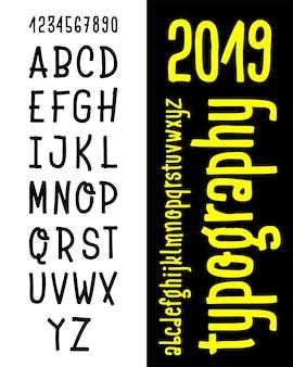 Hand getrokken lettertype set geïsoleerd op whit