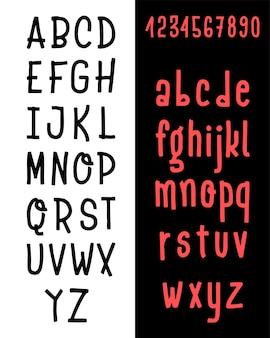 Hand getrokken lettertype set geïsoleerd op wit