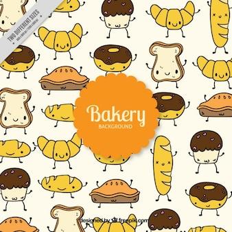 Hand getrokken leuke bakkerij tekens achtergrond