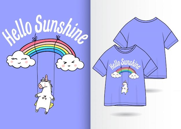 Hand getrokken leuke eenhoornillustratie met t-shirtontwerp