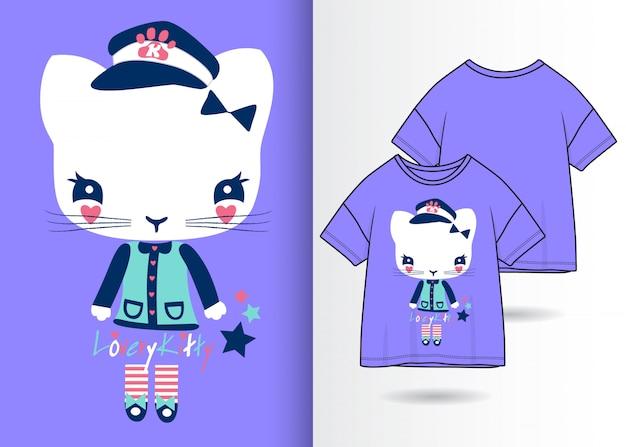 Hand getrokken leuke kat illustratie met t-shirt ontwerp