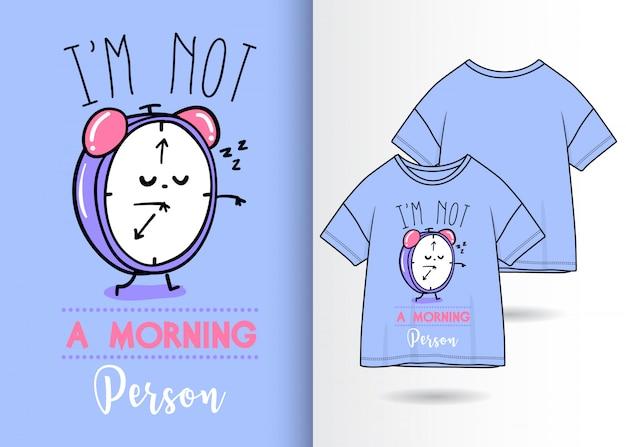 Hand getrokken leuke klokillustratie met t-shirtontwerp