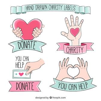 Hand getrokken leuke liefdadigheid labels met linten