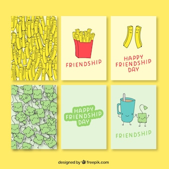 Hand getrokken leuke vriendschap dagkaarten