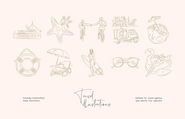 Hand getrokken lijn kunst minimale reizen vector illustratie collectie