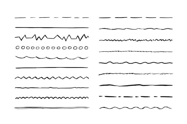 Hand getrokken lijn set schets krabbel