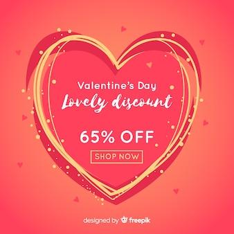 Hand getrokken lijnen valentine verkoop achtergrond