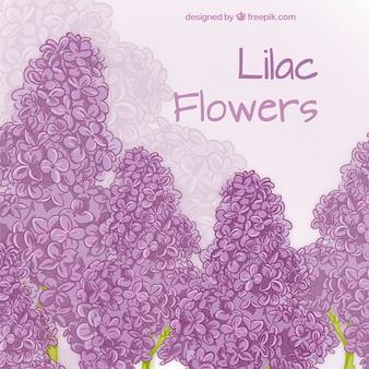 Hand getrokken lila bloemen kaart