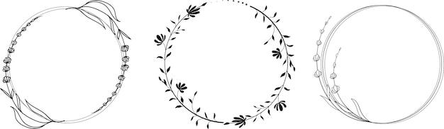 Hand getrokken lineaire krans met bloemen en bladeren in doodle stijl