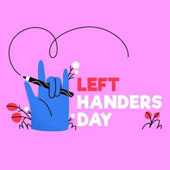 Hand getrokken linkshandigen dag met potlood