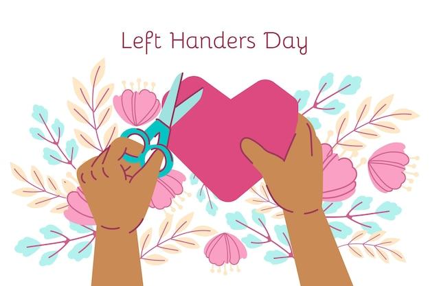 Hand getrokken linkshandigen dag