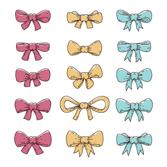 Hand getrokken lint vlinderdas pictogrammen
