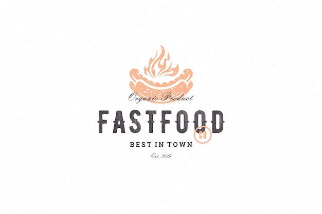 Hand getrokken logo hotdog silhouet en moderne vintage typografie retro stijl vectorillustratie.