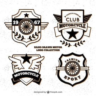 Hand getrokken logo's voor motorfiets culb